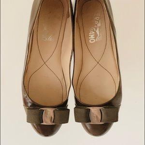 Ferragamo Olive Patent Leather 'Varina' Flats Bow